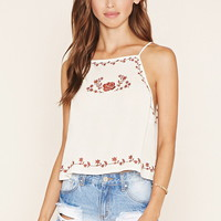 Floral-Embroidered Cami
