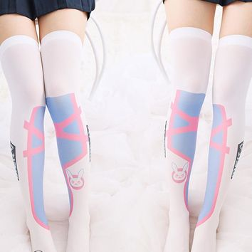 2017 OW D.va Sexy Cosplay high stocking lovely dva Cosplay silk stocking Cute over knee stockings Costume for Girl