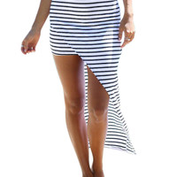White Stripe High Waist High Low Pencil Skirt