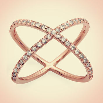 14K Rose Gold Diamond Criss Cross Fashion Ring 0.50ct, Criss Cross Ring, X Cross Ring, X Ring