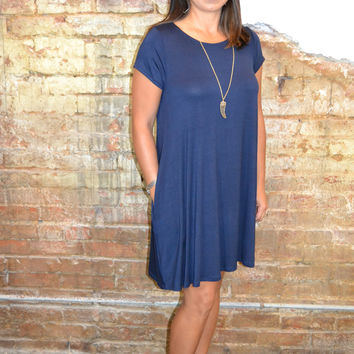 Parade Around Swing Dress: Navy