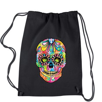 Sugar Skull Glitter Face Drawstring Backpack
