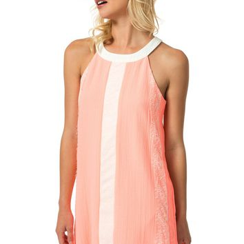 Teeze Me | Sleeveless Crepe Shift Dress | Neon Coral/Off-White