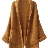 Brown Long Sleeve Knitted Cardigan