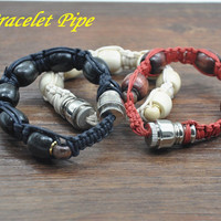 Natural Hemp Rope Bracelet Pipe Disguised Metal Rope with Bead Pipe Snuff