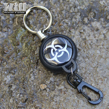 EDC Outdoor  Steel Rope Burglar Keychain Stalker Soft Shell Tactical Retractable Key Chain, Key Return key ring Camping