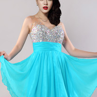 In Stock Chiffon V-neck Neckline Short A-line Homecoming Dress