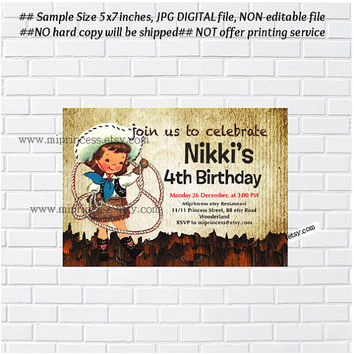 Birthday Invitation for any age,  Vintage Cowgirl design 1st 2nd 3rd 4th 5th 6th 7th 8th retro birthday invitation - card 753