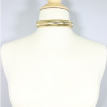 """22"""" gold omega chain choker collar necklace .75"""" wide"""