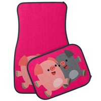 Cute Black and White Cartoon Pigs Car Mats by Cheerful Madness!!