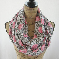 Ready To Ship New Pink Black White Flower Fabric Knit Infinity Circle Tube Scarf