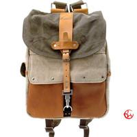 Canvas Backpack // Upcycled and Handmade by peace4you - Model bckpck-2122