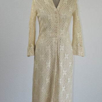 50's Vintage Irish Crochet Lace Long Sleeve Dress by Anita de Sola Originals