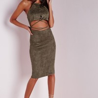 Missguided - Faux Suede Cross Front Midi Dress Khaki