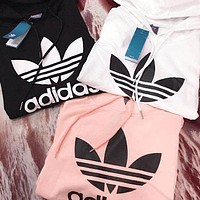 Adidas Women Trending Casual Edgy Print Hooded Top Sweater Pullover G