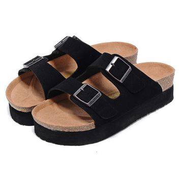 Birkenstock Leather Cork Flats Shoes Women Men Casual Sandals Shoes Soft Footbed Slippers-72