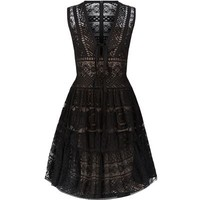 Elie Saab V-Neck Lace Dress