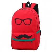 Easter Gifts Cute Funny Canvas Mustache With Glasses School Campus Bag Backpack Book