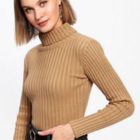 Rib Knit Turtleneck SweaterFor Women-romwe