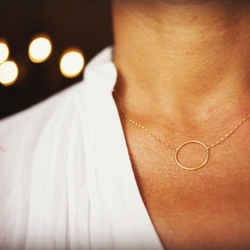 Solid gold 14k Karma necklace, Circle, infinity gold necklace, Dainty circle necklace.