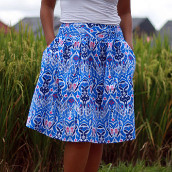 Midi Skirt Ethnic Royal Blue / Blue Skirts / Women's Skirt / Tribal Skirt / Ikat Print Skirt with Pockets / Blue Summer Skirt