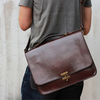 Handmade Leather Briefcase - 'Captain Hook' Messenger Bag -- Full-size Leather Briefcase -- Leather Bags and Purses