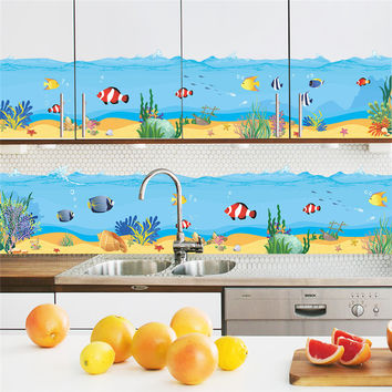Underwater Fish Bubble Wall Stickers Cartoon Wall Decals Kitchen Bathroom Living Room Bedroom Home Decor PVC 3d Room Decor