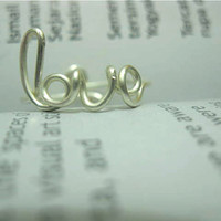 Wire Love Ring, knuckle rings, Love Jewelry, Bridesmaid Jewelry, Love Ring, Weddings, Cursive Word Ring