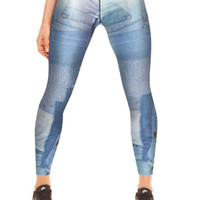 Womens Denim Patchwork Performance Leggings
