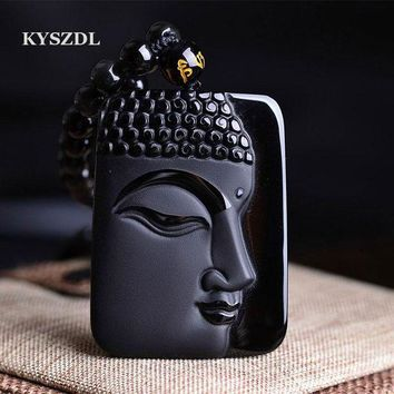 ac spbest KYSZDL  Natural Obsidian Stone top fashion crystal pendant Buddha Buddha Head necklace Pendant gift for men and women
