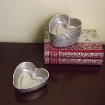 Set of 6 Heart Pastry Molds, Small Heart Shaped Baking Tins Set, Vintage Metal Candy Molds, Soap Mold, Chocolate Mold, Cake Form