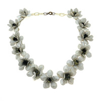 White Flower Garland Celluloid Necklace