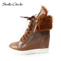 Hot Sale Winter Style Women Shoes Hidden 6cm Wedge Heels Boots Women's Elevator Shoes Casual Shoes For Women Ankle Boots
