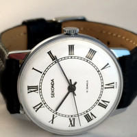 "NEW Vintage men's ""Seconda"" wirstwatch. Lovely white dial with roman numerals Soviet watch, perfect condition! Great gift for him!"