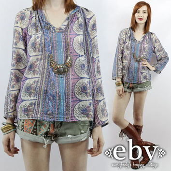 Vintage 70s India Gauze Tunic Top S M L Indian Gauze Top Hippie Tunic Hippy Tunic Hippie Top Peacock Top