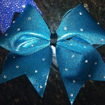 "3"" Cheerleading Cheer Bow Your Choice Mystique Color Fabric with scattered rhinestone accents"