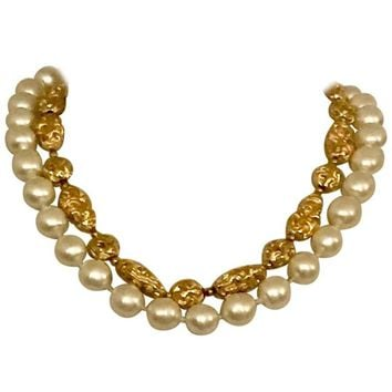 Chanel Vintage 1970s Faux Gold Nugget and Pearl Double Strand Necklace