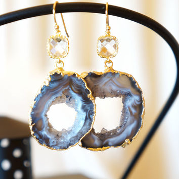 Shimmer Starry Night Geode Druzy Earring Black, Agate Geode, Geode Earrings Grey /Gold Plated