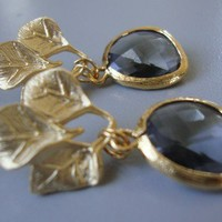 Matt gold 3 leafs dangle earrings with faceted black diamond glass drop. valentines day jewelry Gift For Her
