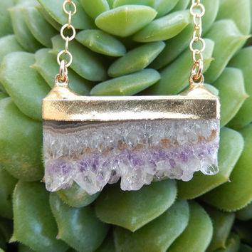 Amethyst Slice Necklace 24K Gold Druzy Quartz Crystal Agate Pendant Gold Filled Chain - Free Shipping OOAK Jewelry