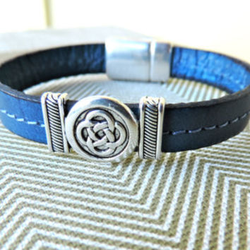 Leather Bracelet, Silver Celtic Knot, Blue Italian Leather, Magnetic Silver Clasp, Gifts for Men, Gifts for Women, Leather Jewelry,
