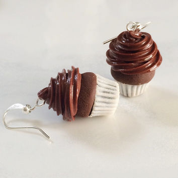 Double Chocolate Cupcake Polymer Clay Earrings