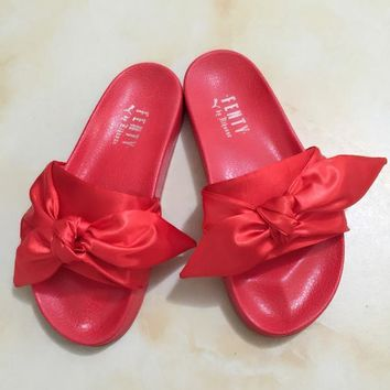 PUMA fenty rihanna silk slides sneakers spring (10-color) Bow Slide Sandals Shoes Red
