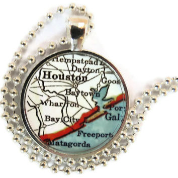 Houston, Texas vintage map pendant charm, map necklace, photo pendant by location inspirations