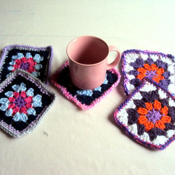 Special Price Today - Crochet Coaster Set of 5 Drink Coasters Doily Gift Ideas Granny Square Coasters Women Men Country Style Housewares
