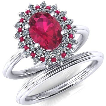 Eridanus Oval Ruby Cluster Diamond and Ruby Halo Wedding Ring ver.1