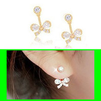 Bow and Rhinestone Wrapping Ear Cuffs