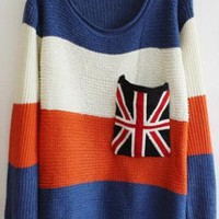 Sweet  Striped Sweater with Plaid Pocket Blue  S005575