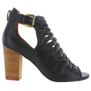 Chinese Laundry Tatiana - Black Leather Woven Stacked Heel Sandal