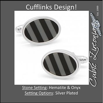 Men's Cufflinks- Black/Grey Hematite & Onyx Diagonal Striped